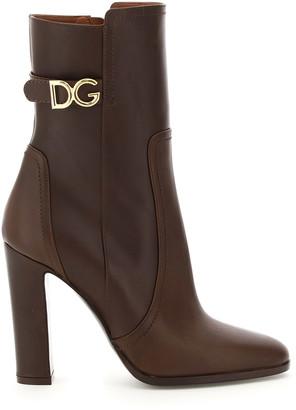 Dolce & Gabbana CAROLINE ANKLE BOOTS 35 Brown, Purple Leather