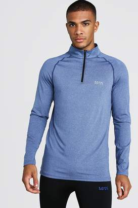 boohoo MAN Active Funnel Neck Muscle Fit Marl Top