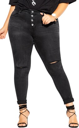 City Chic Classic Button Skinny Jeans