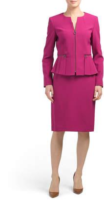 Peplum Zip Jacket Skirt Suit Set