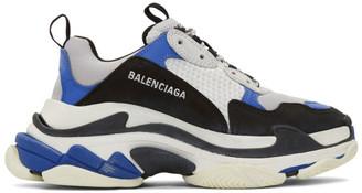 Balenciaga Black and Blue Triple S Sneakers