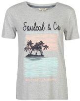 Soul Cal SoulCal Womens Stepped Hem Print T Shirt Tee Top Short Sleeve Round Neck