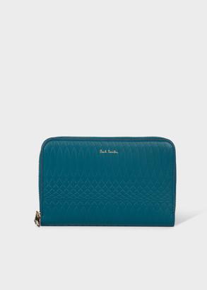 Paul Smith No.9 - Women's Medium Teal Leather Zip-Around Wallet