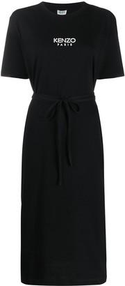 Kenzo Logo Print Tie Fastening Dress