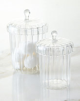 Horchow Set of Two La Boheme Apothecary Jars with Ribbed Optic Design