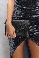 Rare Black Chain Trim Textured Clutch Bag