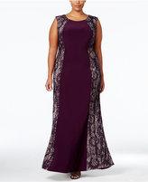 R & M Richards Plus Size Lace Panel Gown