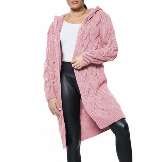 Xpose Ladies Cable Knit Long Warm Winter Hooded Open Front Cardigan Black Camel Khaki Nude Sky Blue Cream Dusty Pink Lilac Silver Grey and Stone One Size Fits 8-16 (Lilac)