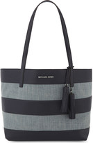 MICHAEL Michael Kors Striped large denim & leather shopper