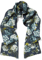 Gucci Reversible Printed Wool Scarf - Blue