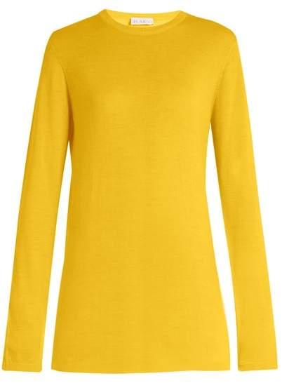 Raey Long Line Fine Knit Cashmere Sweater - Womens - Yellow