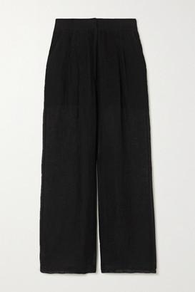 Le Kasha Sohag Linen Wide-leg Pants - Black