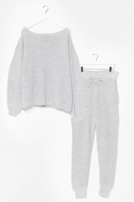 Nasty Gal Womens Knit Happens Balloon Sleeve Jumper and Joggers Set - Grey - 8