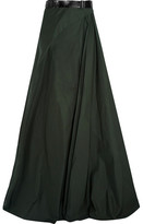 Bottega Veneta Belted Cotton-poplin Maxi Skirt - Forest green