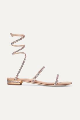 Rene Caovilla Cleo Crystal-embellished Metallic Leather Sandals - Gold