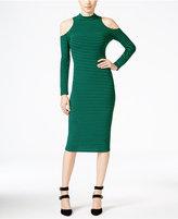 XOXO Juniors' Striped Cold-Shoulder Bodycon Dress