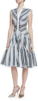 Zac Posen Sleeveless Striped Flounce Shirtdress, Black/White