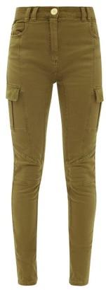 Balmain Corduroy-panelled High-rise Skinny-leg Jeans - Khaki