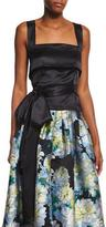 ADAM by Adam Lippes Sleeveless Waist-Bow Top, Black