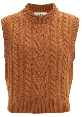 BLAZÉ MILANO Cabled Wool-blend Sleeveless Sweater - Brown