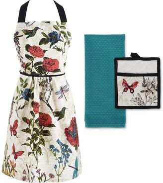Design Imports Botanical Apron Kitchen Set of3