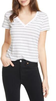 Vince Essential Stripe V-Neck Pima Cotton T-Shirt