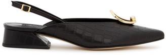 YUUL YIE Zizi 40 Black Slingback Leather Pumps