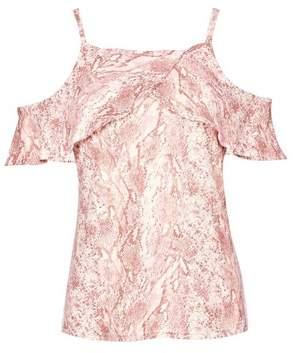 Dorothy Perkins Womens Pink Snake Print Frill Cold Shoulder Top, Pink