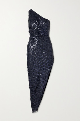 Mason by Michelle Mason One-shoulder Asymmetric Sequined Mesh And Silk Dress - Indigo