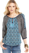 Lucky Brand Jeans Top, Three-Quarter Scoop-Neck Keyhole Mixed-Print