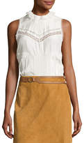 Derek Lam 10 Crosby Sleeveless Pintucked Silk Peplum Blouse, Soft White