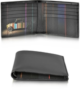 Paul Smith Men's Black Leather Mini Print Interior Billfold Wallet
