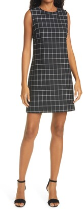Alice + Olivia Ellis Sleeveless Windowpane Print Shift Dress