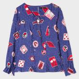 Paul Smith Women's Blue 'Mixed-Motif' Silk-Blend Top