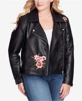 Jessica Simpson Trendy Plus Size Kenley Faux-Leather Moto Jacket
