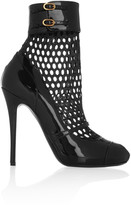 Alexander McQueen Patent-leather and mesh boots