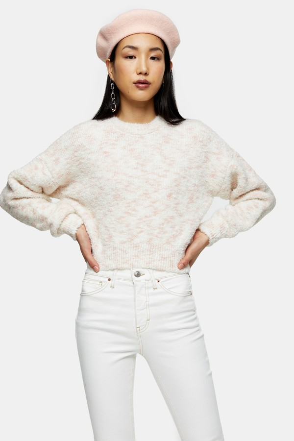 Womens Pink Boucle Knitted Jumper - Pink