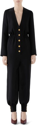 Gucci Interlocking-G Button Cady Crepe Jumpsuit