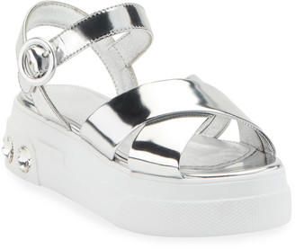 Miu Miu Metallic Leather Flatform Sandals
