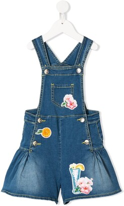 MonnaLisa Multi-Patch Denim Overalls
