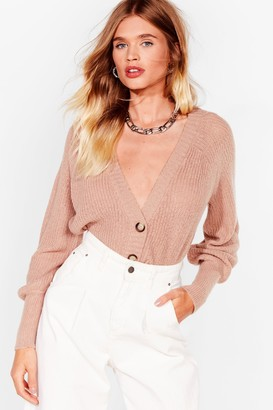 Nasty Gal Womens Knit's Gonna Be Alright Balloon Sleeve Cardigan - Beige - S