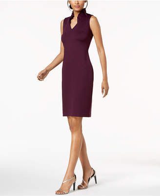 Calvin Klein Ruffled-Collar Scuba Sheath Dress, Regular & Petite Sizes