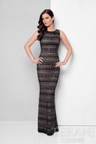 Terani Evening - Decorative Lace Stripes Mermaid Gown 1712E3285