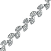 Zales 1/4 CT. T.W. Diamond Leaf Line Bracelet in Sterling Silver