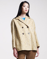 Carven Double-Breasted Tweed Coat