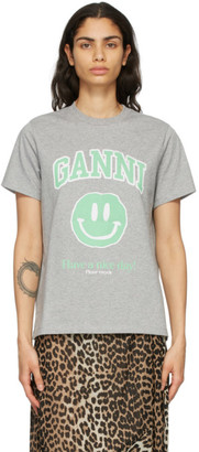 Ganni Grey Cotton Smiley T-Shirt