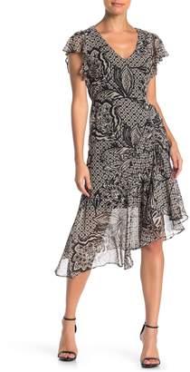 Taylor Short Sleeve Print Asymmetrical Dress (Regular & Plus Size)