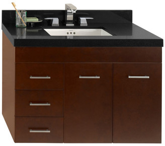 "Ronbow Corporation Ronbow 36"" Bella Solid Wood Wall Mount Vanity Base Cabinet, Dark Cherr"