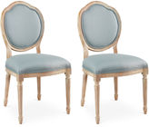 Sarreid Ltd. Spa Linen Louis Side Chairs, Pair