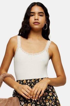 Topshop Cream Pretty Lace Trim Bodysuit